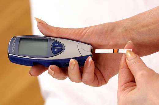 Stock Photo: 824-81629 TEST FOR DIABETES. TEST FOR DIABETES Model. Measurement of glycemia.