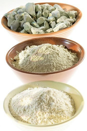 Stock Photo: 824-86586 CLAY. Pieces and powder of green sand and white clay.