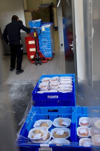 HOSPITAL DIET. Photo essay at the hospital of Meaux 77, France. Department of transportation. Delivery of the meals. : Stock Photo