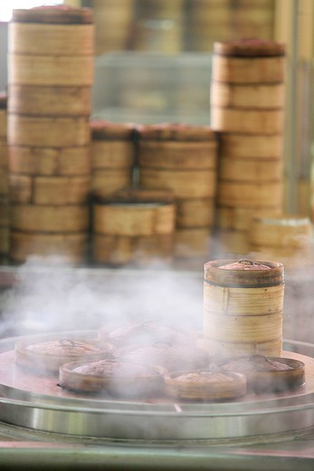 WORLD COOKERY. Restaurant of Dim Sum dishes steam cooked in Malaysia. : Stock Photo