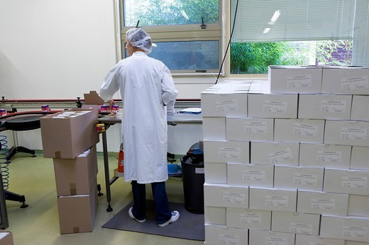 ORGANIC INDUSTRY. Photo essay in the factory Lea Nature which makes natural and organic produts. Production line of ´organic´ food supplements of herbal medicine. Placement of the production in cardboard boxes. : Stock Photo