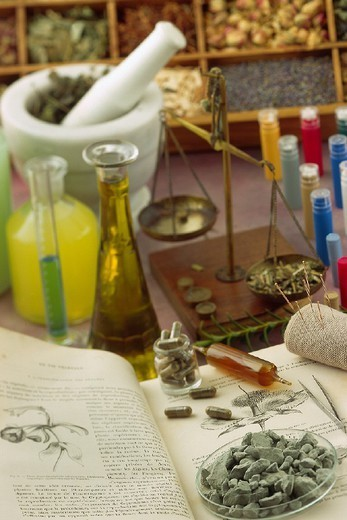 Stock Photo: 824-88874 ALTERNATIVE MEDICINE. ALTERNATIVE MEDICINE Homeopathy. Herbal medicine. Essential oil. Clay.