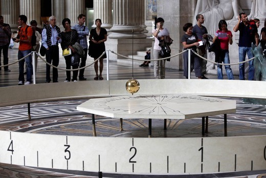 FOUCAULT PENDULUM. Visitor at Le Panthéon. Foucault´s pendulum. : Stock Photo
