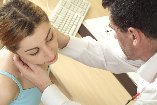 WOMAN, EXAM. FOR LYMPH NODES. WOMAN, EXAM. FOR LYMPH NODES Models. : Stock Photo