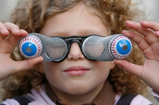 DISGUISED CHILD. DISGUISED CHILD Pair of humouristic glasses. : Stock Photo