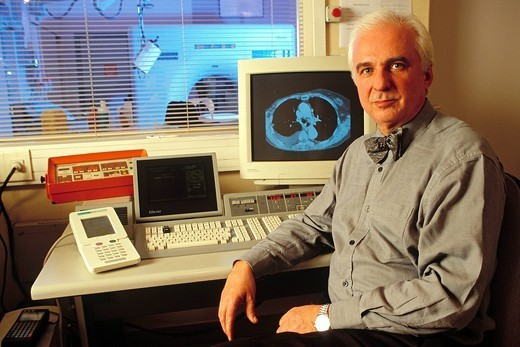 DR VADROT. Dominique Vadot. Head of the Radiology Department at the General Hospital. He perfected the first national health records accessible via Internet. : Stock Photo