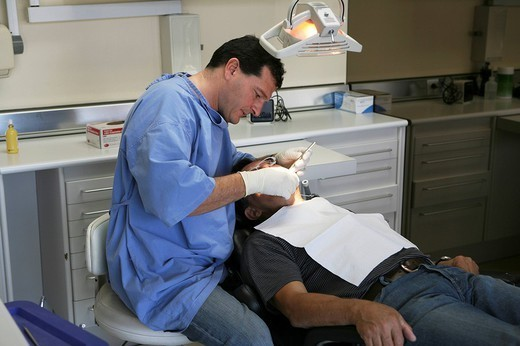 Stock Photo: 824-95538 DENTAL CARE FOR ELDERLY PERSON. DENTAL CARE FOR ELDERLY PERSON Photo essay from dental office.
