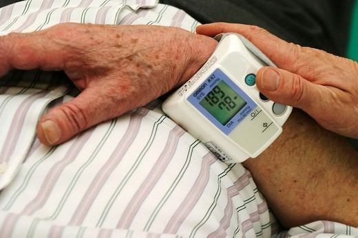 BLOOD PRESSURE, ELDERLY PERSON : Stock Photo