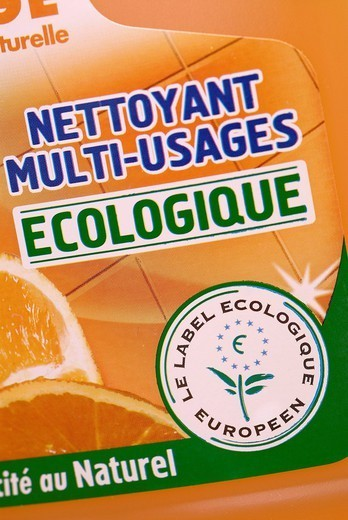 ECOFRIENDLY GESTURE. European ecological label. : Stock Photo