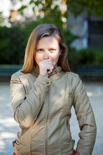 WOMAN COUGHING : Stock Photo