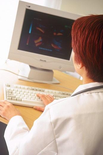 HOSPITAL, COMPUTER Model. : Stock Photo