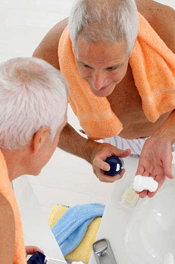 FACE CARE, ELDERLY PEOPLE Model. : Stock Photo