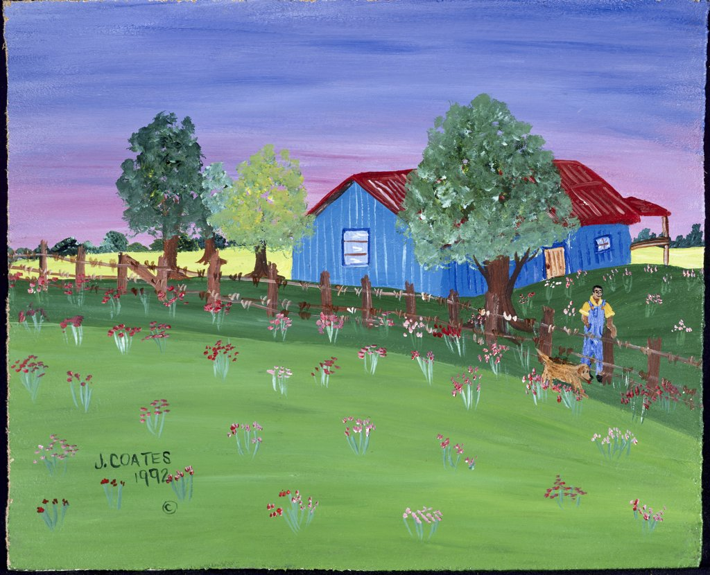 Stock Photo: 826-3021 Part III Old Homestead 1993 Jessie Coates (20th C./American) Acrylic on masonite Private Collection