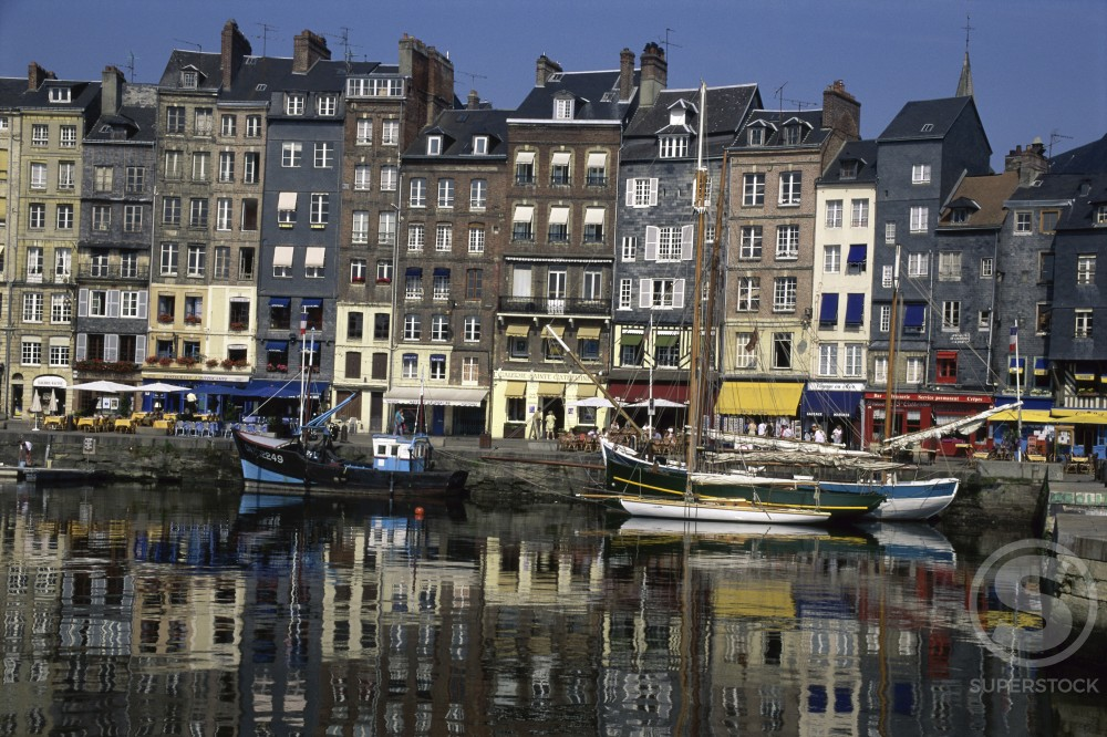 Stock Photo: 837R-783 Boats at a harbor, Honfleur, Normandy, France