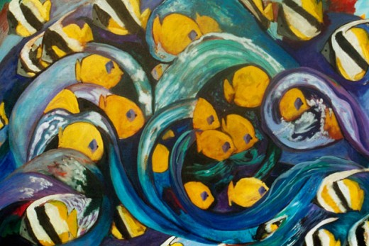 Gold Fish with Blue Swirls 2003 Hyacinth Manning (b.1954 African-American) Acrylic on Canvas : Stock Photo