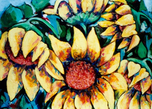 Sunflower Clusters 2005 Hyacinth Manning (b.1954 African-American) Acrylic on Canvas : Stock Photo