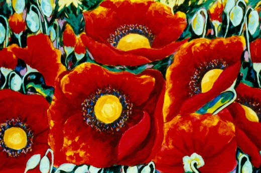 Poppies with Blue Background 2004 Hyacinth Manning (b.1954 African-American) Acrylic on Canvas : Stock Photo