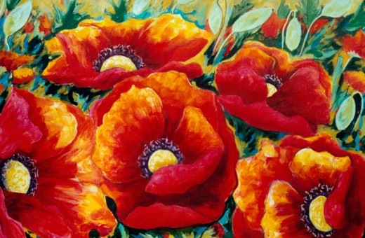 Stock Photo: 838-262 Poppies with Green Background 2005 Hyacinth Manning (b.1954 African-American) Acrylic on Canvas