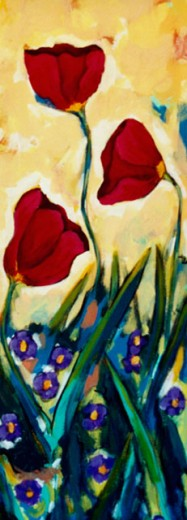Stock Photo: 838-263 Dancing Tulips with Tan Background 2004 Hyacinth Manning (b.1954 African-American) Acrylic on Canvas