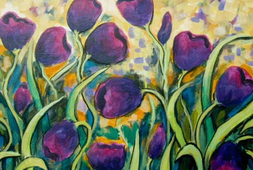 Stock Photo: 838-267 Dancing Tulips-Purple 2006 Hyacinth Manning (b.1954 African-American) Acrylic on Canvas
