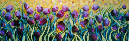 Stock Photo: 838-271 Dancing Tulips with Gold Background 2006 Hyacinth Manning (b.1954 African-American) Acrylic on Canvas