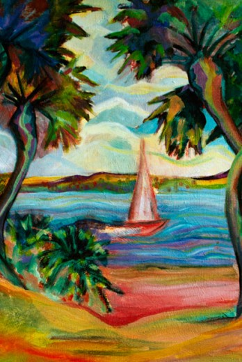 Stock Photo: 838-272 Colorful Palms with Sailboat 2001 Hyacinth Manning (b.1954 African-American) Acrylic on Canvas
