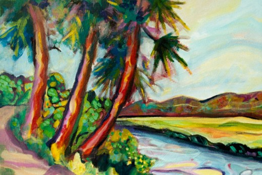 Colorful Palms with Water and Marsh 2001 Hyacinth Manning (b.1954 African-American) Acrylic on Canvas : Stock Photo