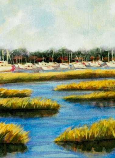 Stock Photo: 838-275 Marsh with Boats I 2005 Hyacinth Manning (b.1954 African-American) Acrylic on Canvas
