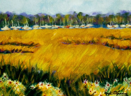 Stock Photo: 838-277 Marsh in Autumn 2005 Hyacinth Manning (b.1954 African-American) Acrylic on Canvas
