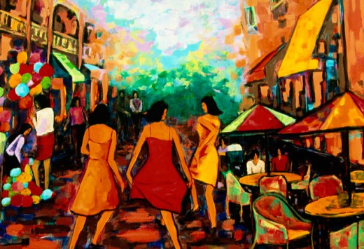 Girls Dancing in Street 2006 Hyacinth Manning (b.1954 African-American) Acrylic on Canvas : Stock Photo