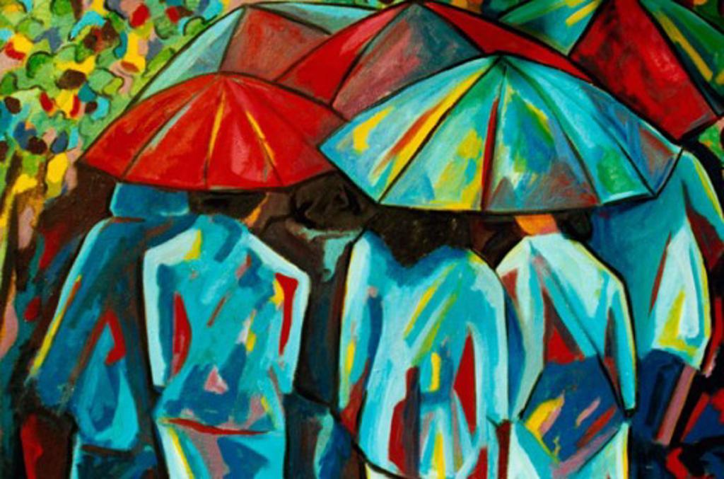 Stock Photo: 838-297 Umbrellas 2001 Hyacinth Manning (b.1954 African-American) Acrylic on Canvas