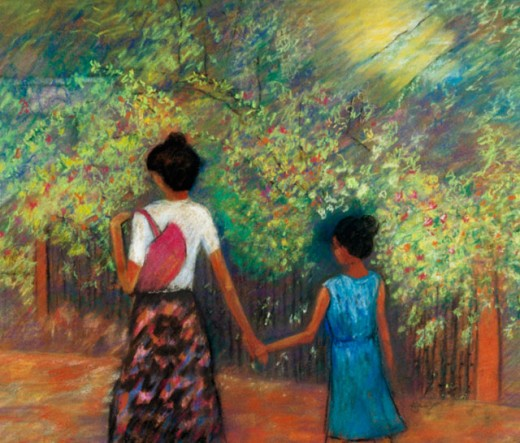Mother & Child 2000 Hyacinth Manning (b.1954 African-American) Acrylic on Canvas : Stock Photo