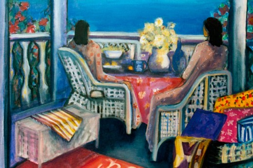 Seated Females on Veranda 2004 Hyacinth Manning (b.1954 African-American) Acrylic on Canvas : Stock Photo