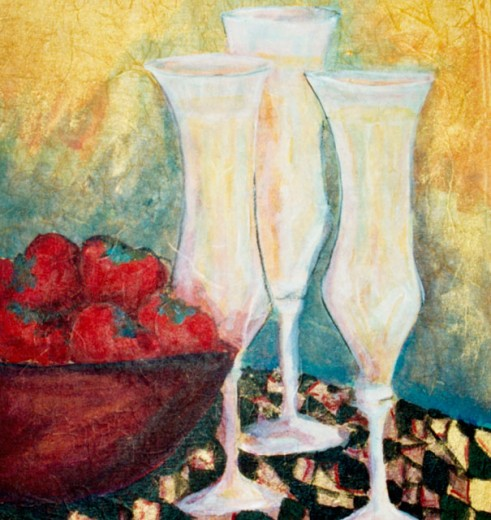 Stock Photo: 838-313 Strawberries and Glasses 2004 Hyacinth Manning (b.1954 African-American) Acrylic on Paper