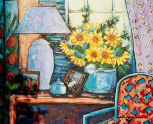 Stock Photo: 838-323 Sunflower in Room with Decorative Chair 2004 Hyacinth Manning (b.1954 African-American) Acrylic on Canvas