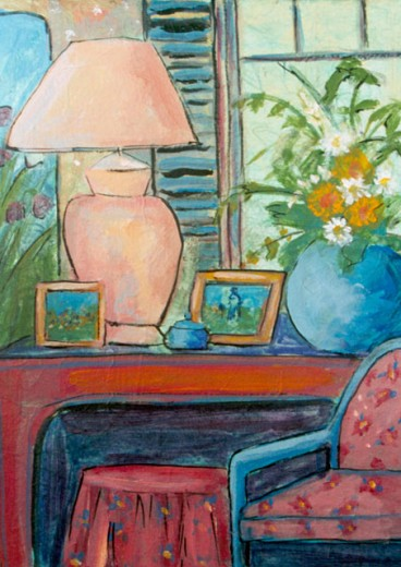 Stock Photo: 838-324 Room-Flowers by Window 2005 Hyacinth Manning (b.1954 African-American) Acrylic on Paper