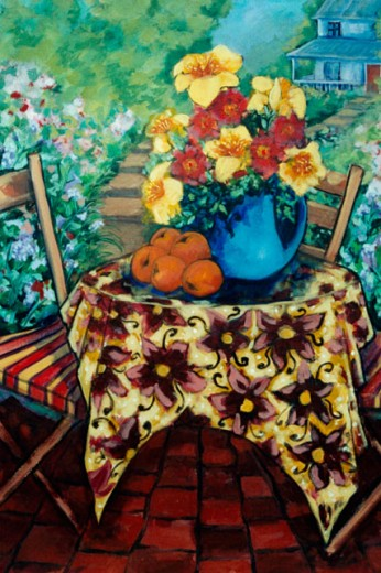 Garden with Table 2006 Hyacinth Manning (b.1954 African-American) Acrylic on Canvas : Stock Photo