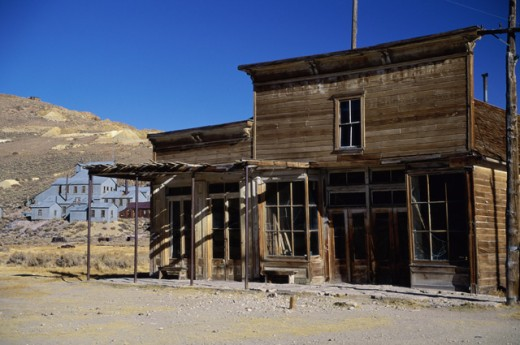 Stock Photo: 84-3096 Wheaton and Hollis Hotel and Bodie Store, Bodie State Historic Park, California, USA