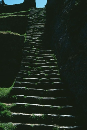Low angle view of a staircase, Machu Picchu (Incan), Peru : Stock Photo
