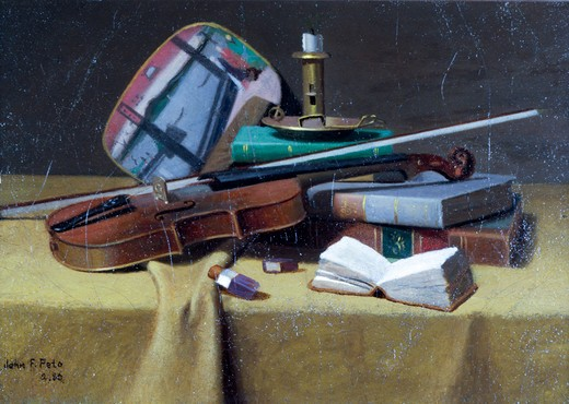 Stock Photo: 849-10003 Violin and Books by John Frederick Peto,  1880,  oil on canvas,  (1854-1907),  USA,  Pennsylvania,  Philadelphia,  David David Gallery