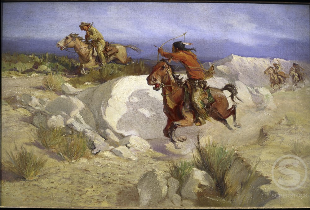 Stock Photo: 849-10005 Pony Express Rider under Attack by Indians by Oscar Edward Berninghaus, oil on canvas, 1874-1952, USA, Pennsylvania, Philadelphia, David David Gallery