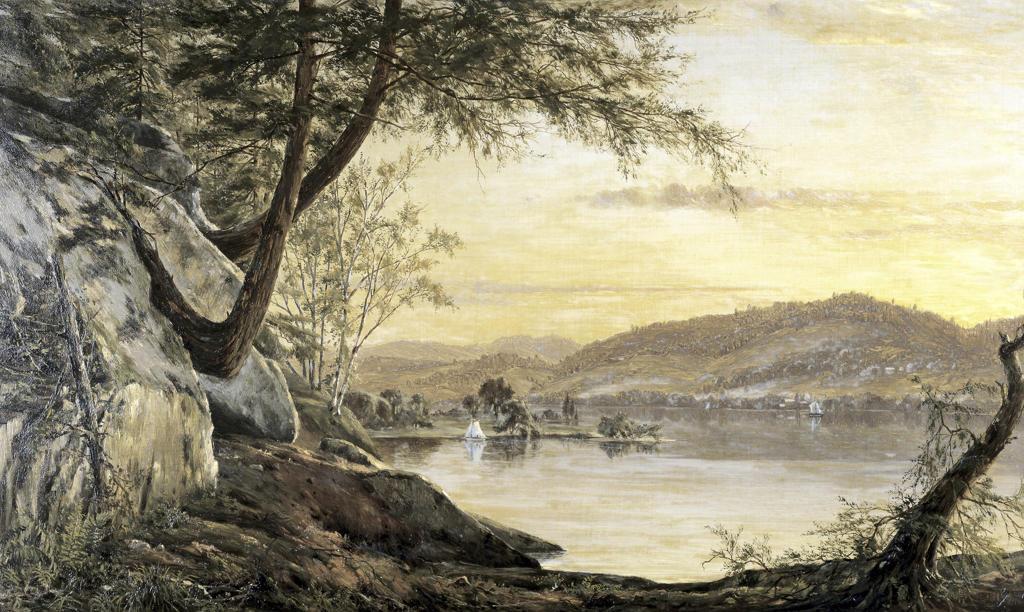Stock Photo: 849-10016 Sunset on the Lake Horace Wolcott Robbins (1842-1904/American) David David Gallery, Philadelphia, Pennsylvania, USA