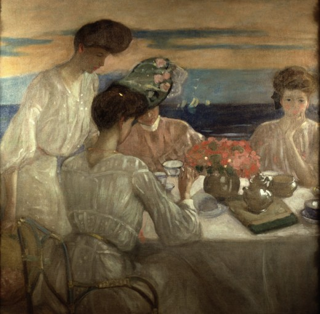 Afternoon Tea on the Terrace 1906 Frederick Carl Frieseke (1874-1939 American) Oil on Canvas David David Gallery, Philadelphia, USA  : Stock Photo