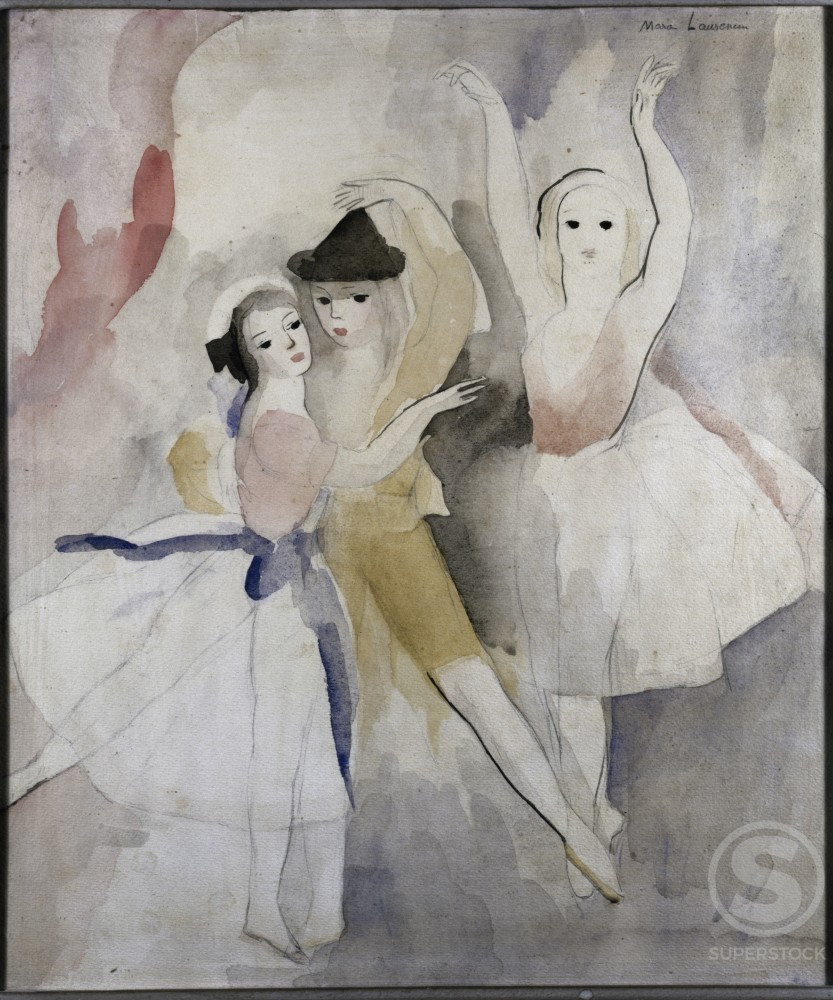 Three Dancers by Marie Laurencin, watercolor, 1883-1956, USA, Pennsylvania, Philadelphia, David David Gallery : Stock Photo