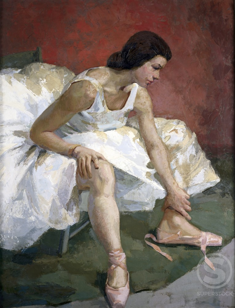 Ballerina by Richard Miller,  1925,  oil on canvas,  (1875-1943),  USA,  Pennsylvania,  Philadelphia,  David David Gallery : Stock Photo