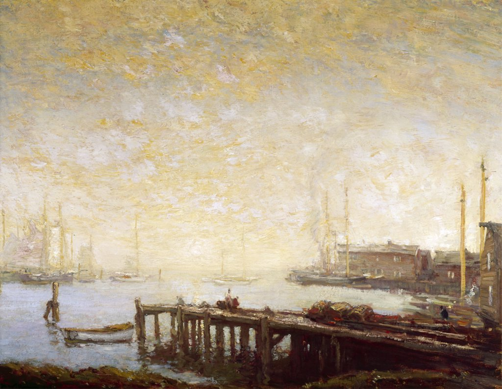 Stock Photo: 849-10038 The Harbor by Henry Ward Ranger,  oil on canvas,  1890,  (1858-1916),  USA,  Pennsylvania,  Philadelphia,  David David Gallery