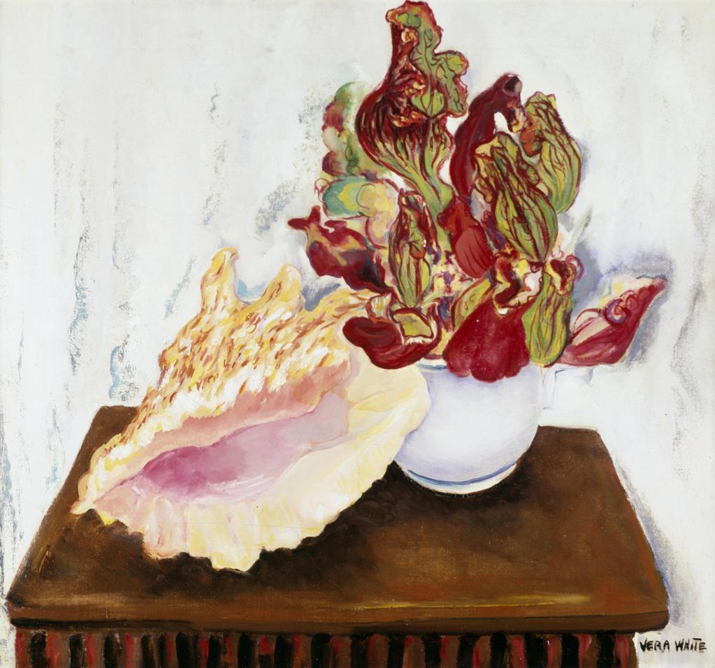 Stock Photo: 849-10041 Flowers and Nautilus Shell White by Vera M. White,  oil on canvas,  (1888-1966),  USA,  Pennsylvania,  Philadelphia,  David David Gallery