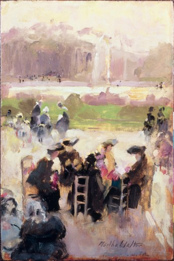 Luxembourg Garden Tea by Martha Walter, oil on wood panel, 1916, 1875-1976, USA, Pennsylvania, Philadelphia, David David Gallery : Stock Photo