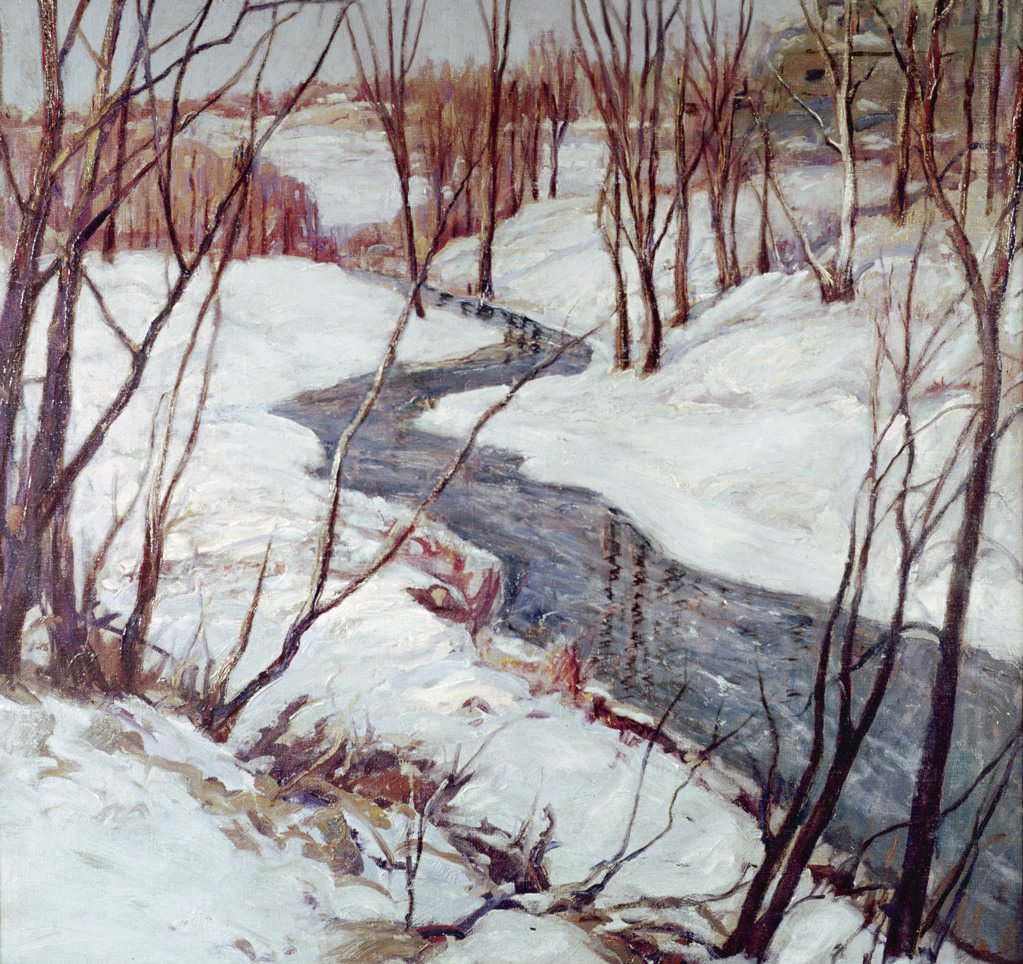 Stock Photo: 849-10056 Winter Landscape by Emile Albert,  oil on canvas,  1915,  (1896-1978). USA,  Pennsylvania,  Philadelphia,  David David Gallery