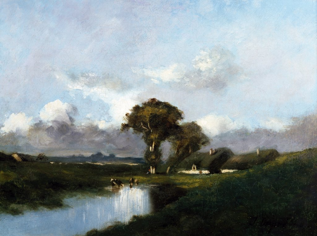 Stock Photo: 849-10061 Along the River by Jules Dupre,  oil on canvas,  1860,  (1811-1889),  USA,  Pennsylvania,  Philadelphia,  David David Gallery